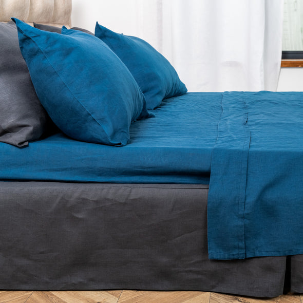 Dark Blue Linen Pillowcase with Envelope Closure - Standard, Queen, King, Euro Sizes