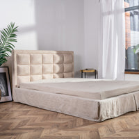 Tailored Linen Bed Skirt Pleated - Split Corners and High Drops Available - Beige, Grey, White, Pink, Blue Colors