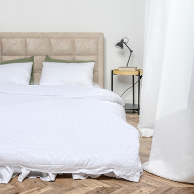 White Organic Linen Bedding 3 pcs Set - Duvet Cover and 2 Pillowcases in Natural, White and Grey Colors