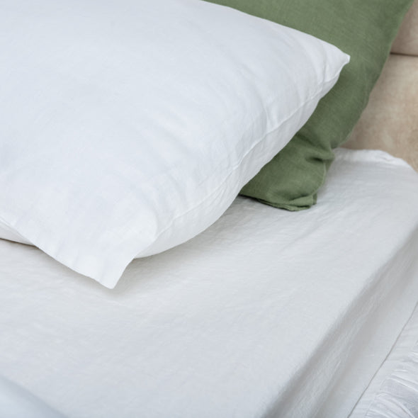 White Linen Pillowcase with Envelope Closure - Standard, Queen, King, Euro Sizes