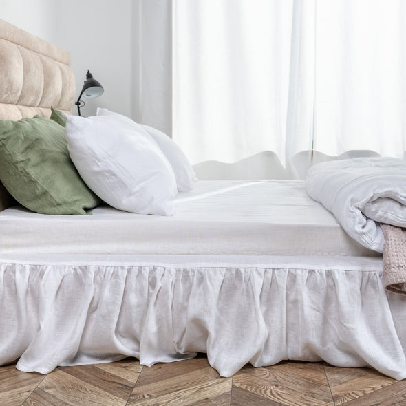 White Linen Bed Skirt with Gathered Ruffles and Cotton Decking - King, Queen, Twin and Full - Custom Drop - More Colors Available