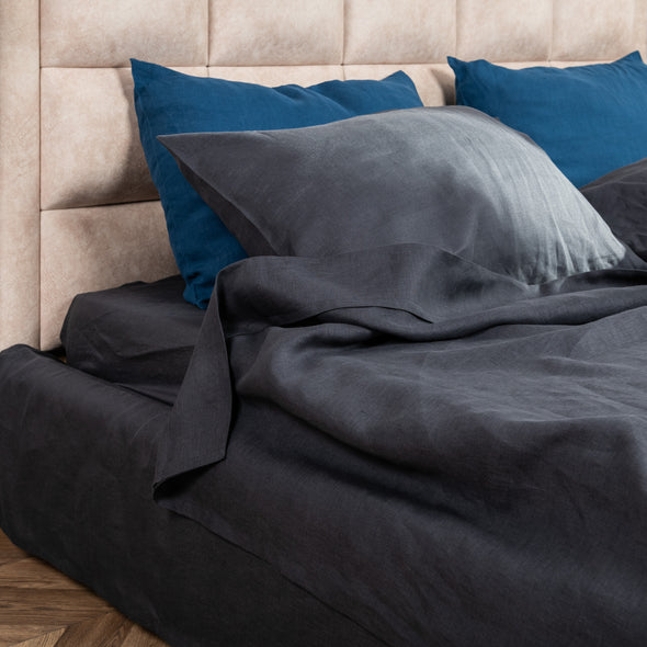 Charcoal Grey Linen Pillowcase with Envelope Closure - Standard, Queen, King, Euro Sizes