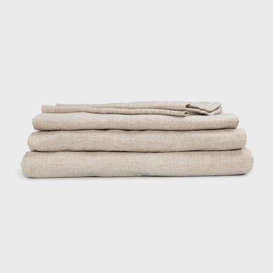 Natural Linen Bed Sheets - 4 Piece Linen Sheet Set - Twin, Full, Queen, King and California King