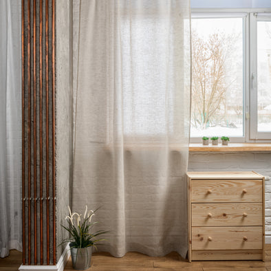 Linen Sheer Curtain Natural Color - Linen Voile - Rod Pocket Heading