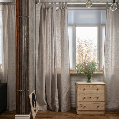 Linen Tab Top Curtain Panel - 53'' Width, Custom Length - Natural Linen Oatmeal/White/Grey Colors