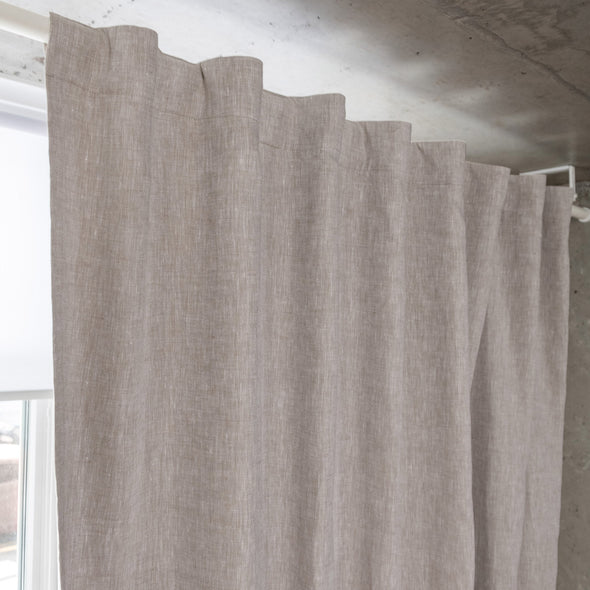 Linen Back Tab Curtain Panel with Blackout Lining - 53'' Width, Custom Length - Natural Linen Oatmeal/White/Grey Colors