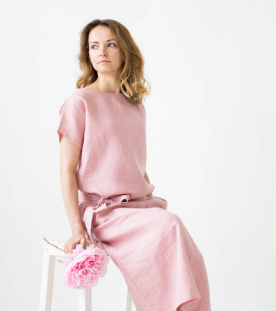 Dusty Rose Linen Dress - Loose Summer Women Dress - Linen Long Tunic Dress