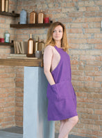 Pure Linen Cross Back Apron with Two Pockets and Pleat Décor - XS-XXL Sizes - Multiple Colors