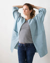 Blue Linen Jacket with Pockets - Oversized Linen Cardigan - Long Olive Linen Coat