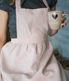 Romantic Pleated Bib Natural Linen Apron with Long Ties - XXS-XXL Sizes - Multiple Colors