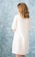 Linen Basic Ivory Dress with Sleeves and Split Neckline - Different Sizes and Colors
