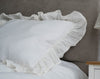 One Shabby Chic Pure Linen Ruffled Sham -  Standard, Queen, King, Euro Sizes