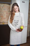 Linen Kitchen Apron Love Print - Women's Bib Apron with Pockets - Gift Idea for Cooking Lovers