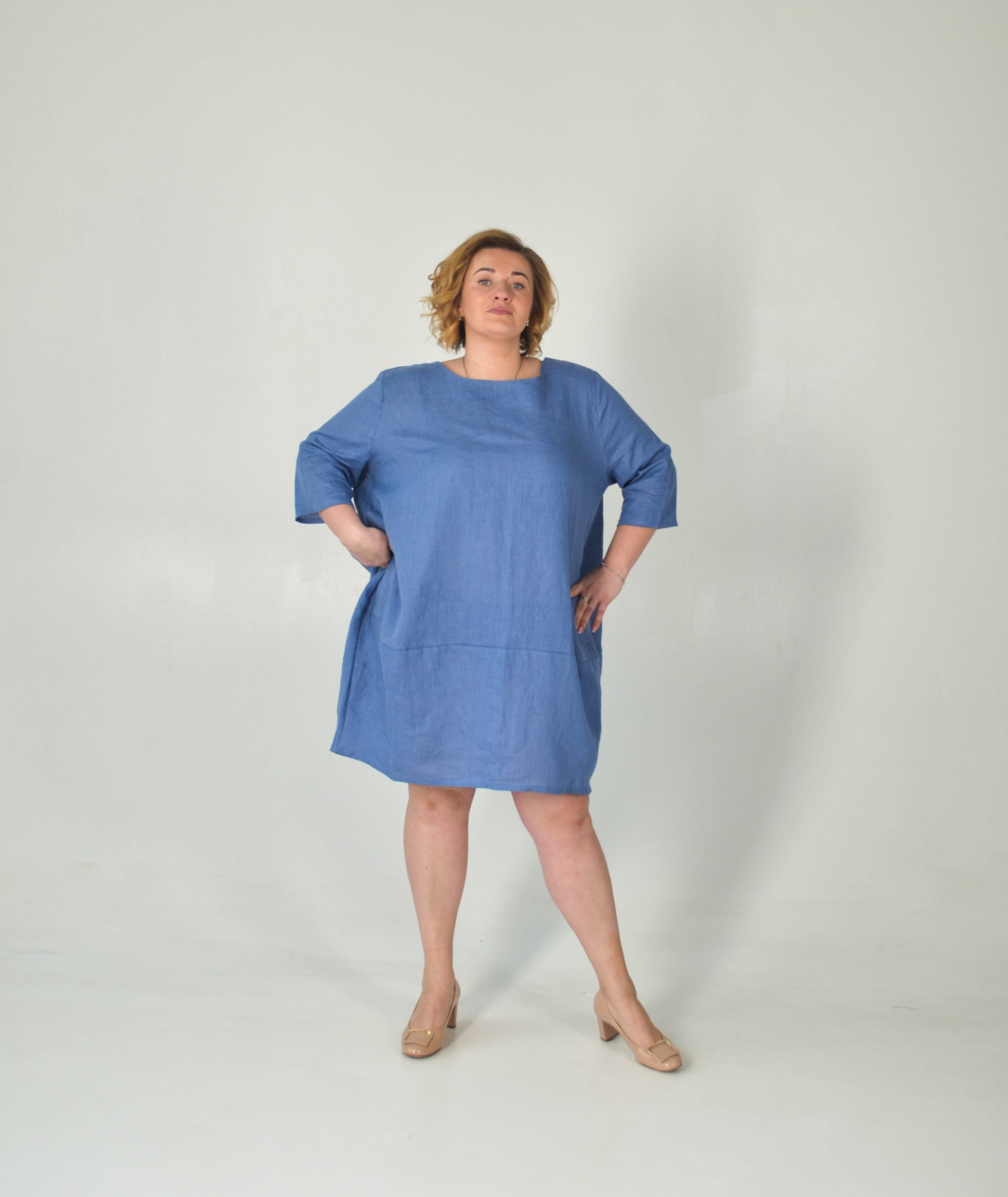 Plus Size Oversized Linen Summer Tunic - Baloon Dress Women - Blue Summer Outfit - XL-3XL