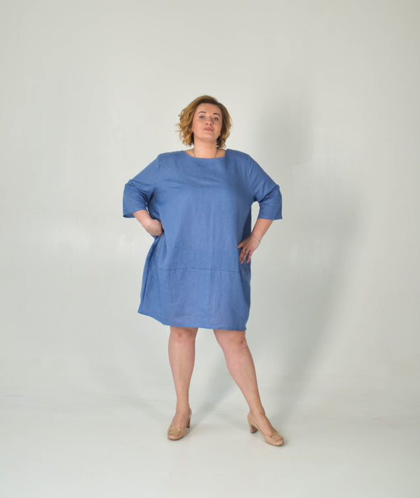 Plus Size Oversized Linen Summer Tunic - Balloon Dress Women - Blue Summer Outfit - XL-3XL