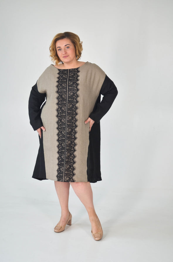 Linen Dress With French Lace - Plus Size Fashion - Wear to Work Fashion - Short Front Long Back