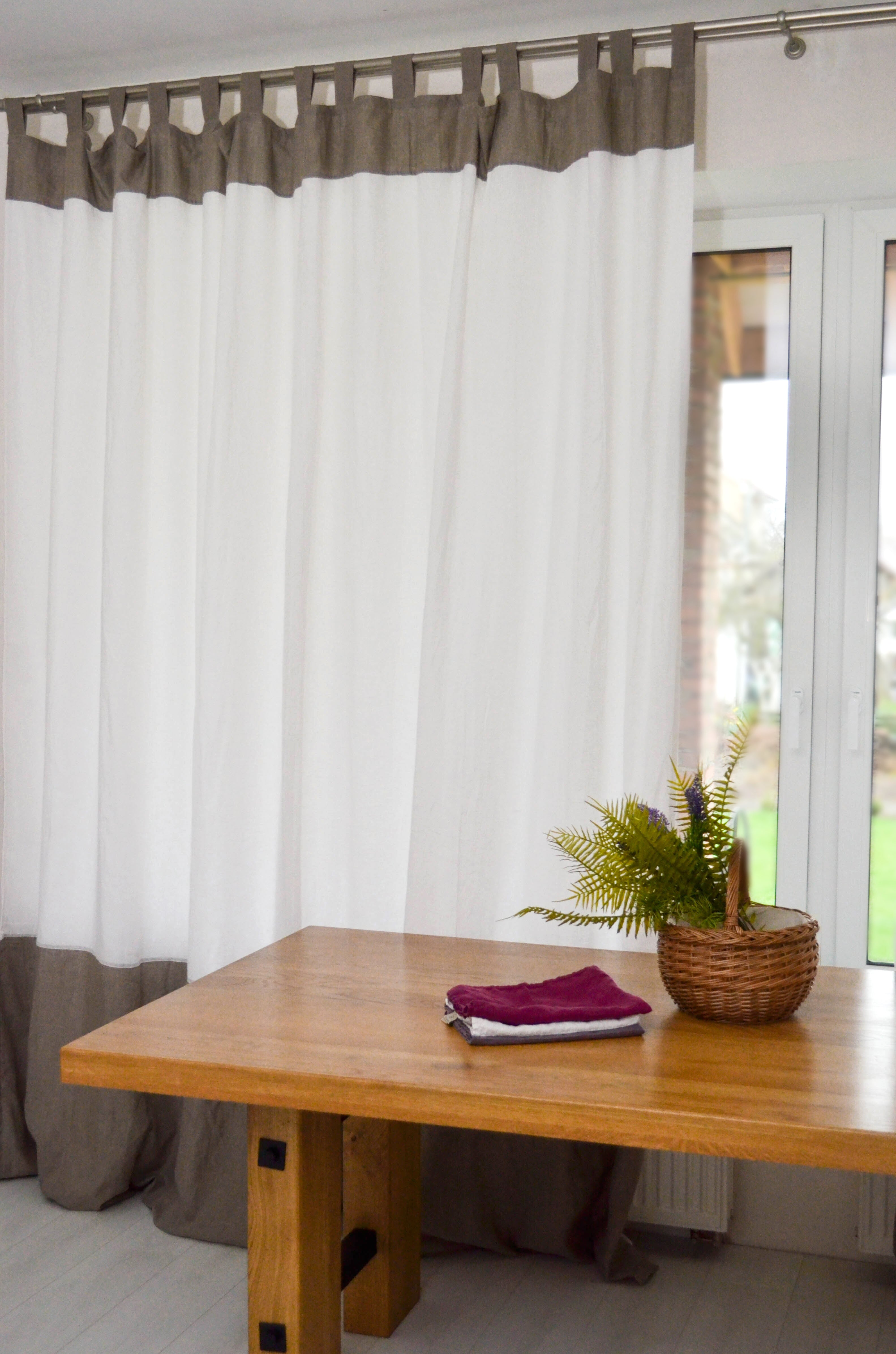 Color Block Linen Curtain with Cotton Lining - Tab Top Panel in Two Colors - Window or Door Drapes in Custom Size