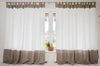 Color Block Natural Linen Curtain - Tab Top Panel in Two Colors - Window or Door Drapes in Custom Size