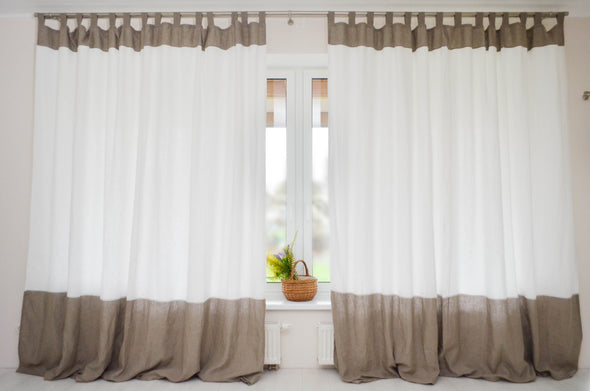 Color Block Linen Curtain with Blackout Lining - Tab Top Panel in Two Colors - Window or Door Drapes in Custom Size