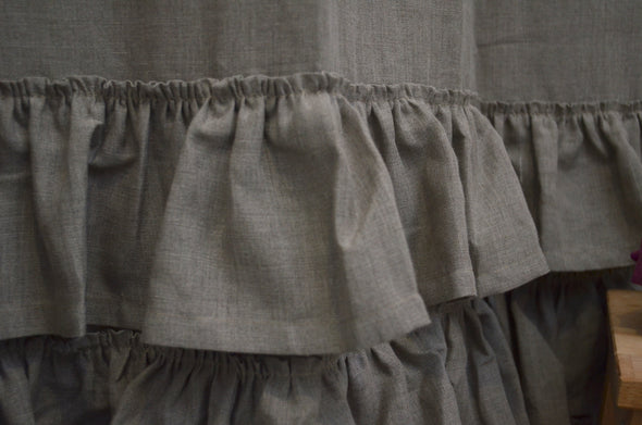 Ruffled Shower Natural Linen Panel - Shabby Chic Ruffled Bathroom Drape