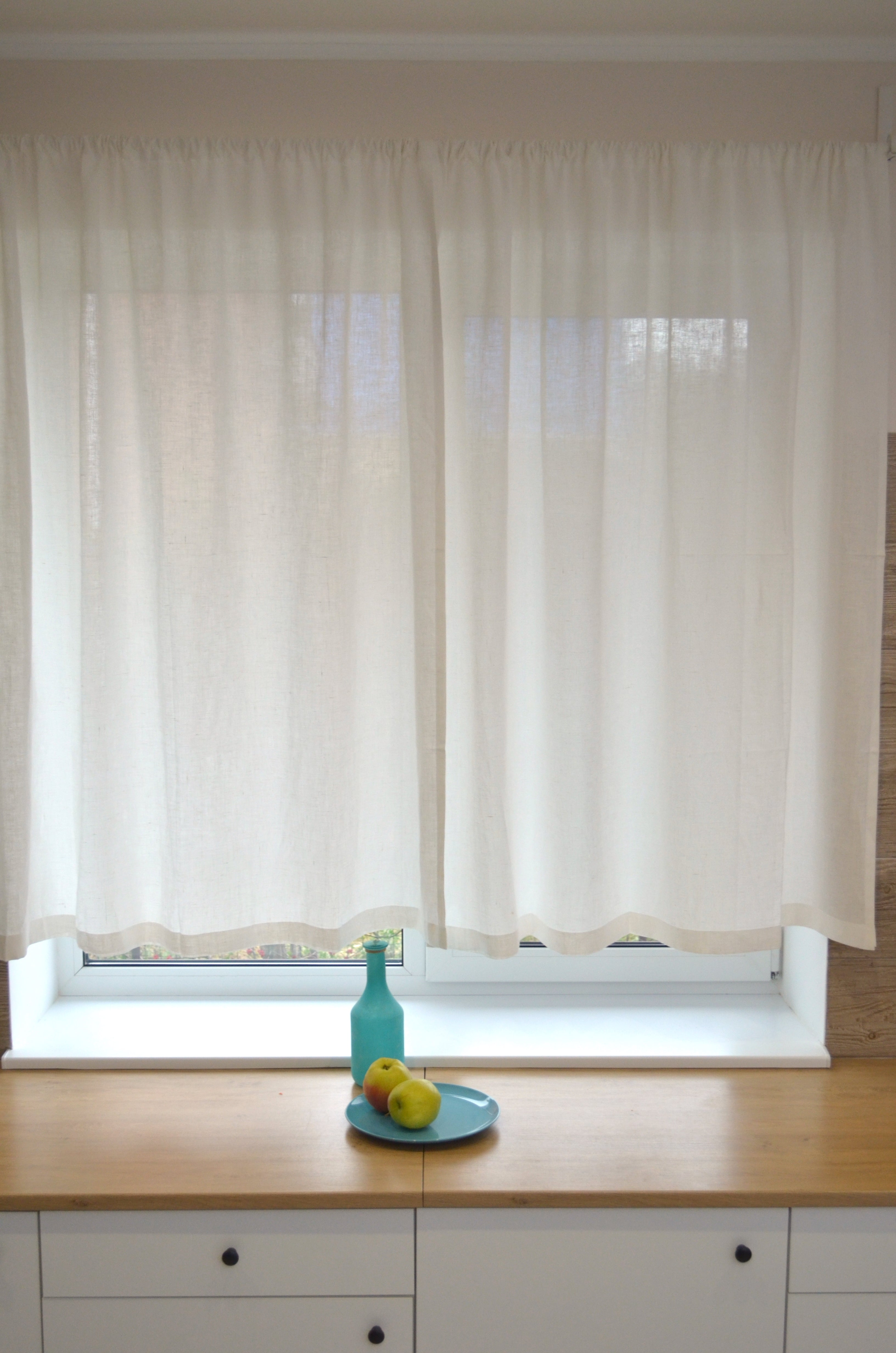 Kitchen Natural Linen Curtain Panel –  Rod Pocket Cafe Curtains
