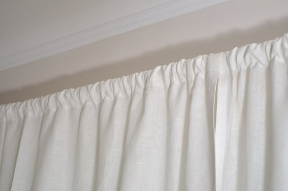 Kitchen Natural Linen Curtain Panel –  26'' Width - Rod Pocket Cafe Curtains