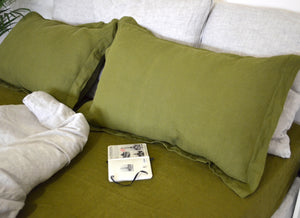Linen Pillow Sham with Flanged Edge - Flax Pillow Cover in Moss Green, Blue, Mustard and other Winter Trendy Colors - Envelop Closure