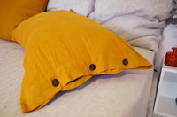 Pillow Case with Buttons - Natural Linen Flax Trendy Bedding Colors - with Coconut Brown Buttons