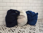 Large Linen Laundry Bag Clothes to Wash - Flax Camp Bag - Linen Storage Bag