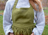 Midi Skirt Linen Apron - Vintage Inspired Feminine  - Forest green, Dark Grey, Dark Blue and more colors  - for Kids and Adults