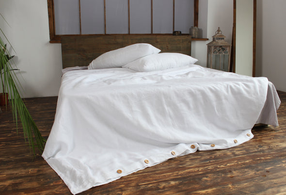 Natural Linen Bedding 3 pcs Set with Wooden Buttons - Different Sizes - in Natural, White and Grey Colors