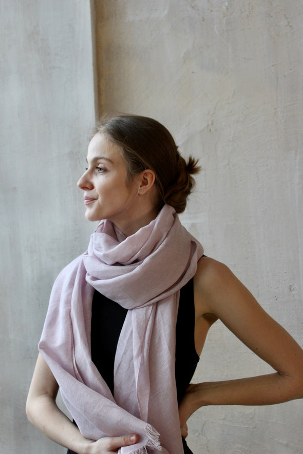 Long Linen Scarf - Lightweight Linen Shawl - Linen Beach Wear - Summer Women's Clothes - Linen Head Wrap