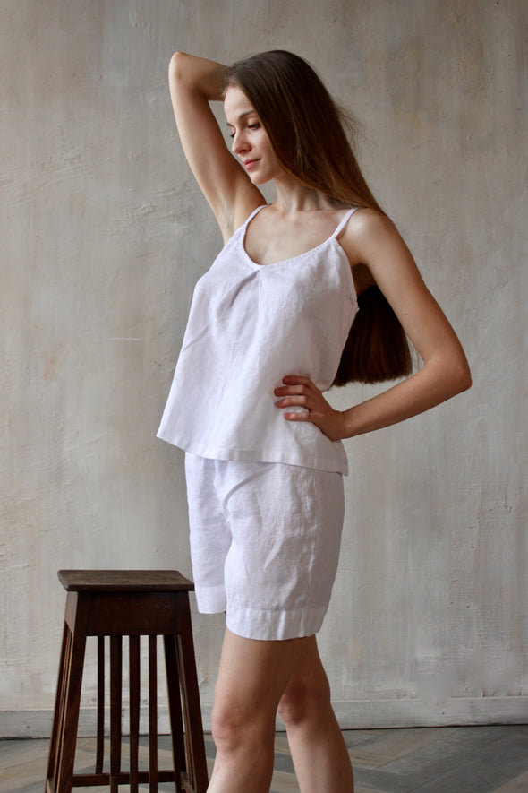 Pure Linen Loungewear Tank Top and Shorts - Soft Pre-washed Homewear  - 19 Color Options