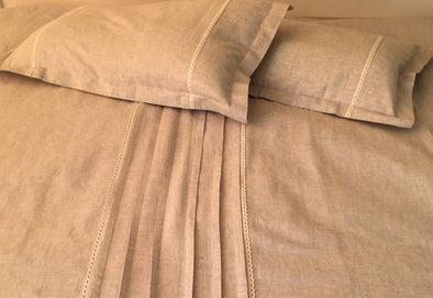 Linen Bedding 3 pcs Set with Pleats and Lace - Duvet Cover+ 2 Pillowcases
