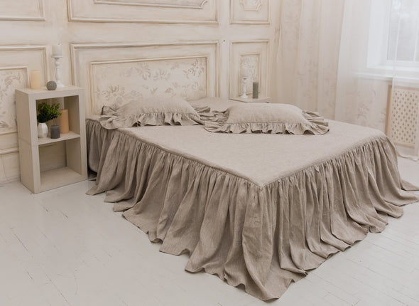 100% Linen Bed Spread - Natural Linen Ruffled Coverlet - Shabby Chic Bed Cover