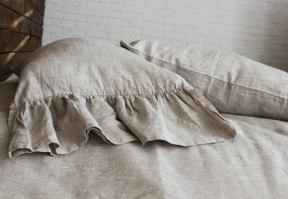 Linen Long Ruffles Pillowcase - Pillow Slip Cover for King Queen EUR Standard Pillow - Shabby Chic Bedding