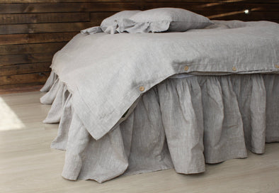 Linen Bed Skirt with Gathered Ruffles and Cotton Decking - in Grey, Green, Mustard and more color options - Various Mattress Sizes and Drop