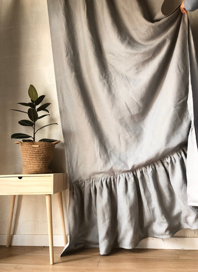 Ruffled Rod Pocket Curtain with Blackout Lining - Natural Flax Linen Sun Blocking Drapery - Solid Room Darkening Panel