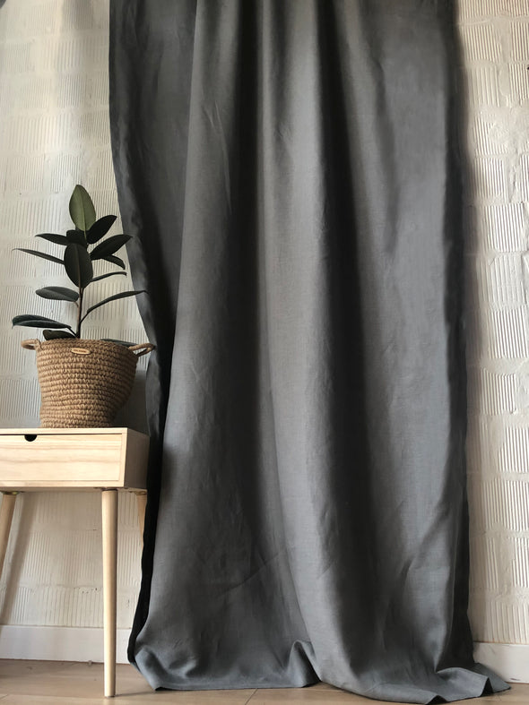 Solid Rod Pocket Single Flax Linen Curtain Panel - Medium Room Darkening Lined Panels - Ruffled Header and Easy Installation