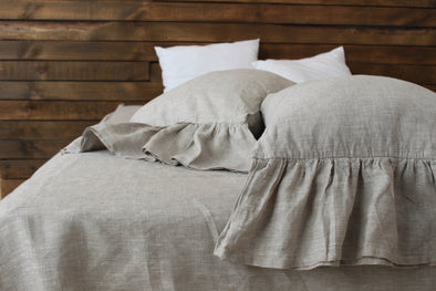 Romantic Linen Bedding Set - Ruffled Bed Valance and 2 Pillowcases with Ruffles - Twin, Full, Queen, King sizes