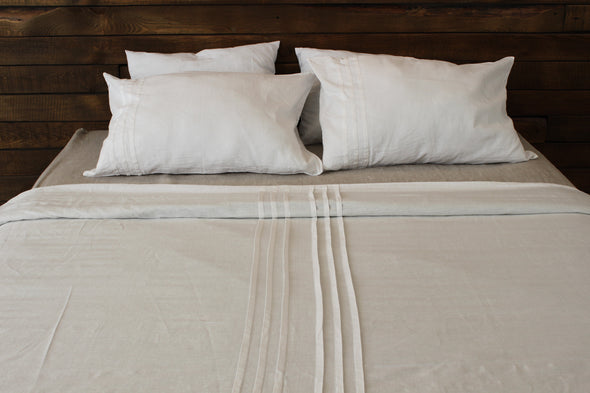 Natural Linen Bedding 3 pcs Set with Pleats - Different Colours and Sizes