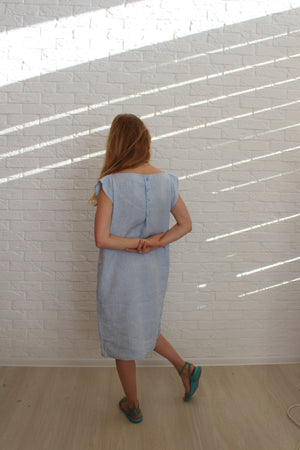 Linen Blue Tunic Dress with Buttons - Linen Dress for Women - Pink Loose Linen Tunic