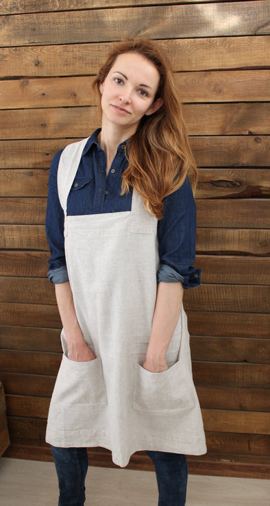 Linen No-Tie Cross Back Japanese Style Pinafore Apron with Two Pockets - XS-XXL Sizes - Multiple Colors
