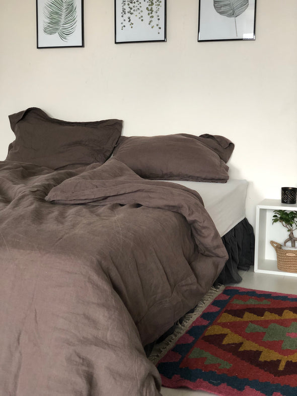 Linen Duvet Set for Single Men Guy's Bedding - Brown Grey Textured Bed Set - Industrial Bedroom Look - Easy Washable