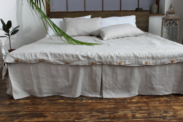 Box Pleated Bed Skirt - with Pleats on the Sides and Footboard - 100% Linen Base Cover - Twin, Full, Queen, King Sizes