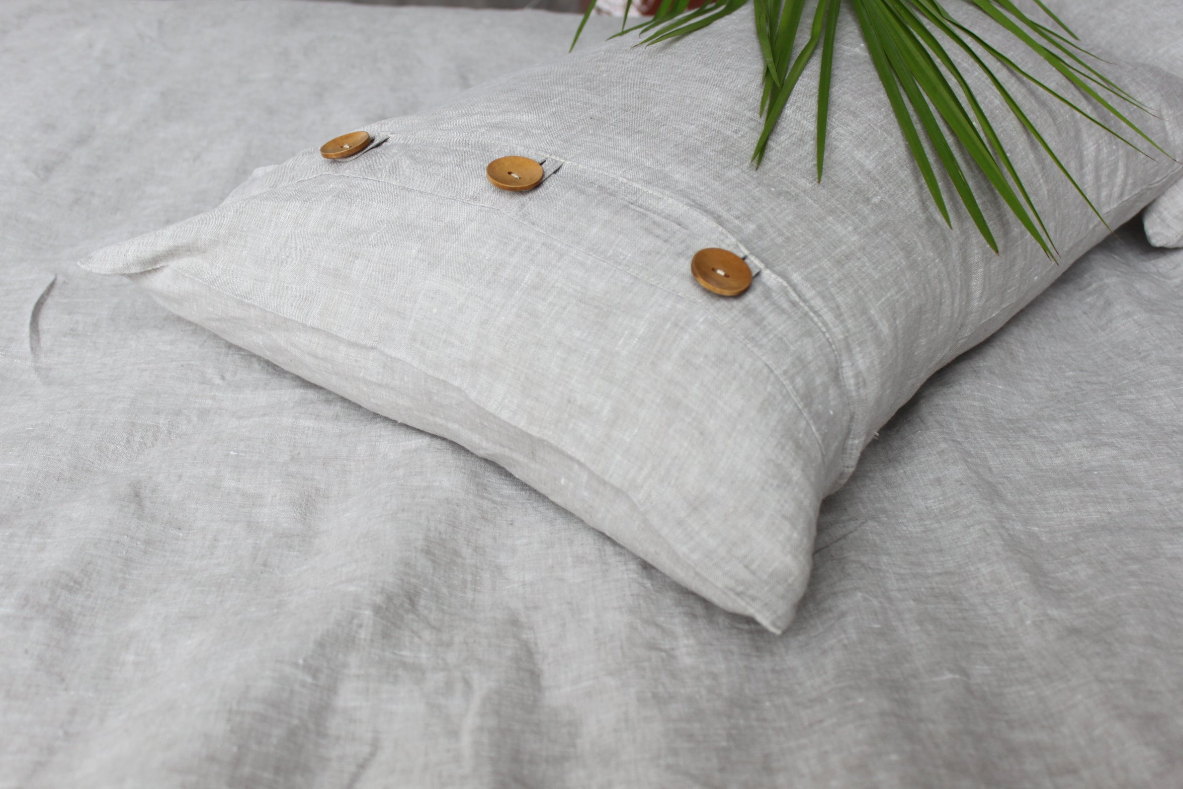 Cottage Chic Natural Linen Pillow Sham with Side Wooden Buttons Decor - Standard, Queen, King, Euro Sizes