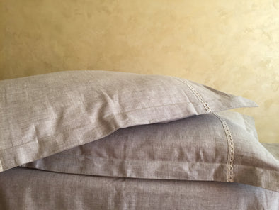 Natural Linen Pillow Sham with Flanges and Lace Decor - Standard, Queen, King, Euro Sizes - Natural, White or Grey Colors