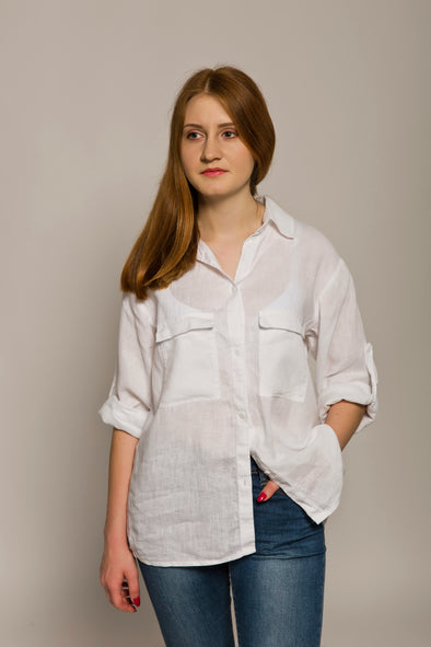Women's White Linen Shirt - Casual Button Down Shirt with Two Pockets - Different Sizes