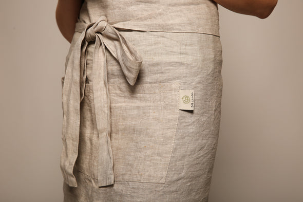 Natural Linen Waist Cafe Apron with Two Pockets and Long Ties - One Size Fits All - Multiple Colors