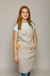 Natural Linen Full-Length Bib Apron with Pockets and Ties - XXS-XXL Sizes - Multiple Colors